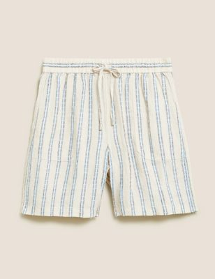 Pure Linen Striped High Waisted Shorts