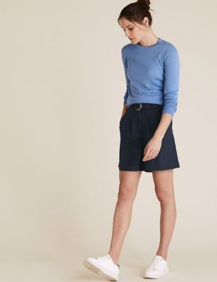 Pure Linen High Waisted Belted Shorts