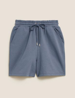 Cotton High Waisted Jogger Shorts
