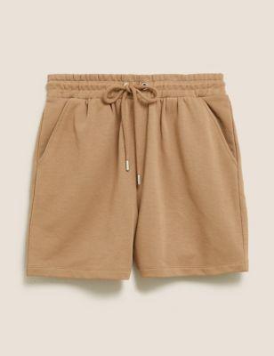 Cotton High Waisted Jogger Shorts