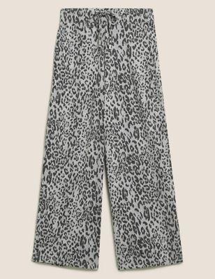 Jersey Animal Print Wide Leg Joggers
