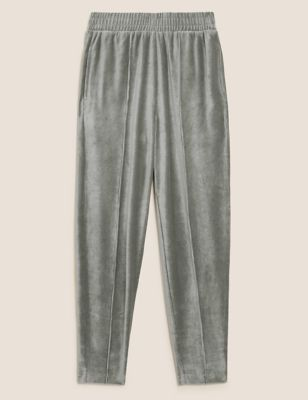 Velour Tapered Ankle Grazer Joggers