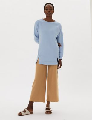Textured Wide Leg Ankle Grazer Trousers