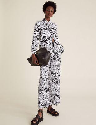 Linen Animal Print Wide Leg Trousers