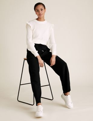 Linen Drawstring Wide Leg Trousers