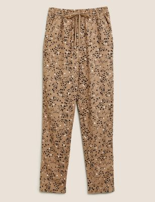 Linen Animal Print Tapered Trousers