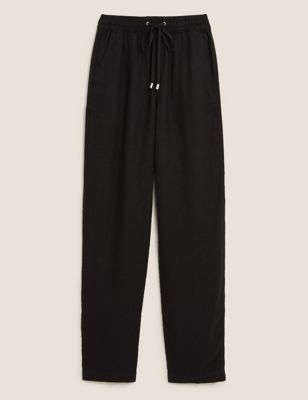 Linen Tapered Ankle Grazer Trousers