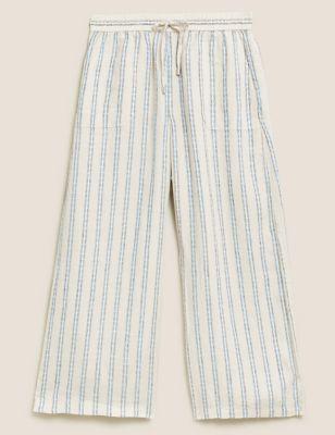 Pure Linen Striped Wide Leg Culottes