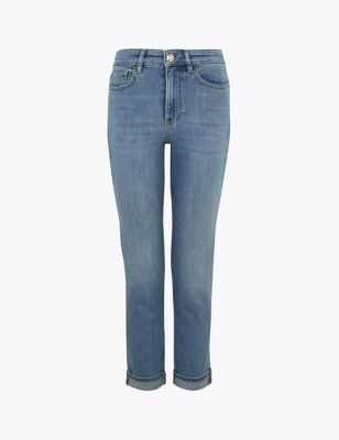 Slim Fit Turn Up Jeans With Stretch