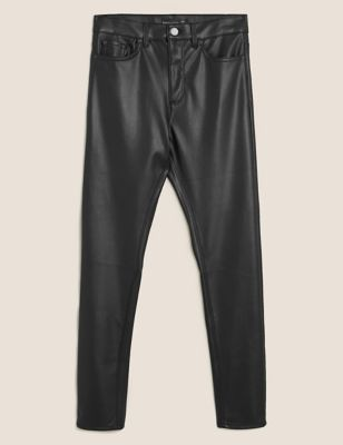 Leather Look High Waisted Slim Fit Jeans
