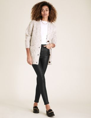 Snake Print Leather Look Skinny Jeans