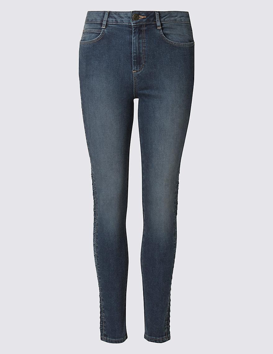Side Plait Skinny Leg Jeans Ms Hanger Marksspencer Slim