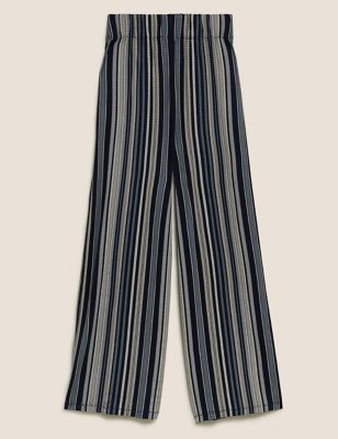 Jersey Striped Wide Leg Cropped Trousers