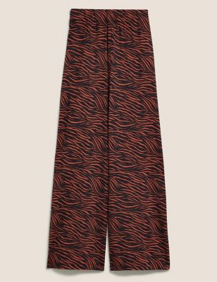 Jersey Animal Print Wide Leg Culottes