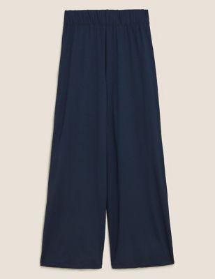 Jersey Wide Leg Cropped Trousers