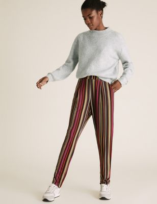 Jersey Striped Tapered Trousers