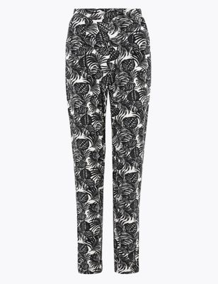 Jersey Palm Print Tapered Trousers