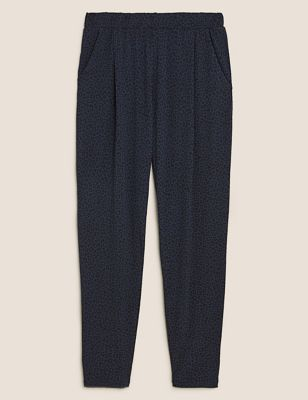 Jersey Animal Print Tapered Trousers
