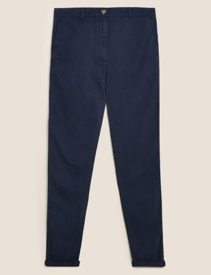 Pure Cotton Tapered Ankle Grazer Chinos