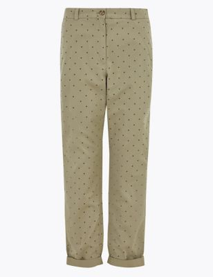 Pure Cotton Polka Dot Tapered Chinos