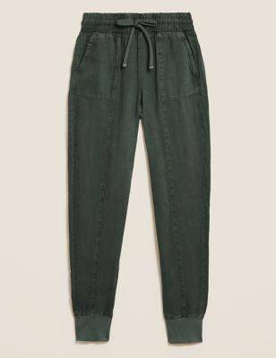 Tencel™ Drawstring Cuffed Tapered Trousers
