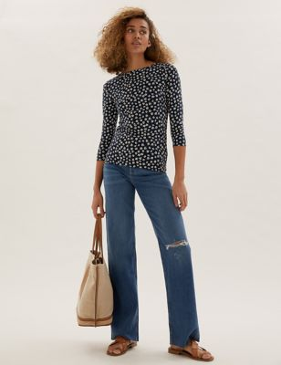 High Waisted Slim Fit Wide Leg Jeans