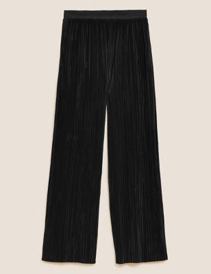 Plisse Wide Leg Ankle Grazer Trousers