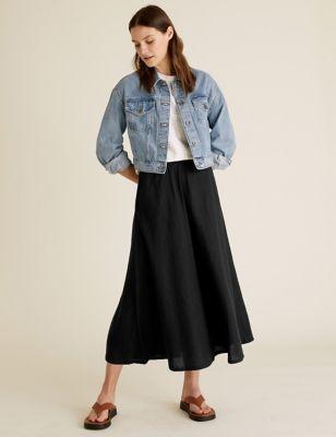Linen A-Line Midaxi Skirt
