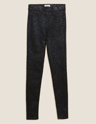 Printed Coated High Waisted Jeggings