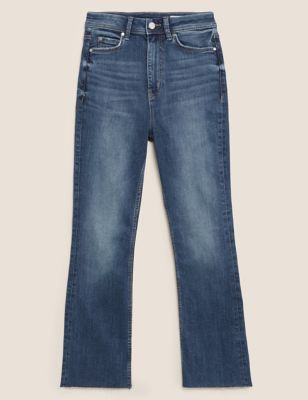 High Waisted Flare Cropped Jeans