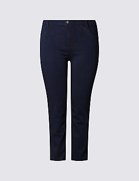 PLUS Bling Mid Rise Straight Leg Jeans, INDIGO, catlanding