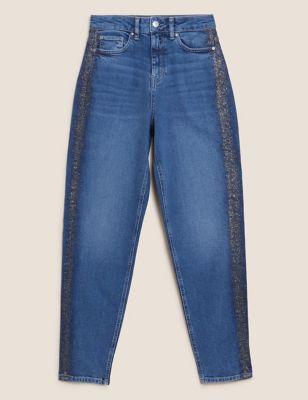 High Waisted Glitter Trim Mom Jeans
