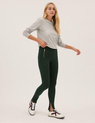 Zip Detail High Waisted Leggings