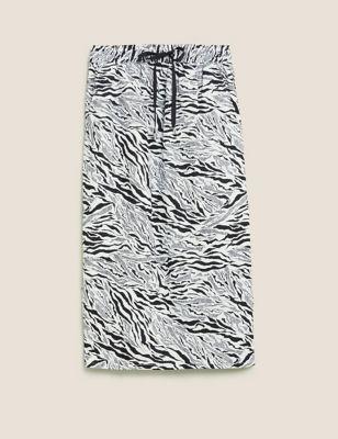 Linen Animal Print Midi A-Line Skirt