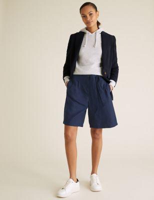 Linen High Waisted Pleat Front Long Shorts