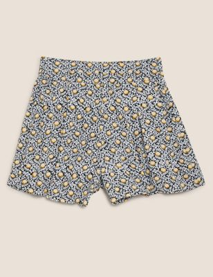 Floral High Waisted Pleat Front Shorts