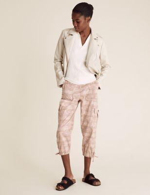 Tencel™ Cargo Camo Cropped Trousers