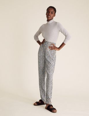 Floral Tapered Ankle Grazer Trousers