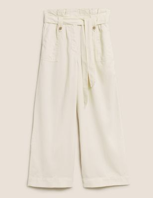 Tencel™ Paperbag Wide Leg Cropped Trousers