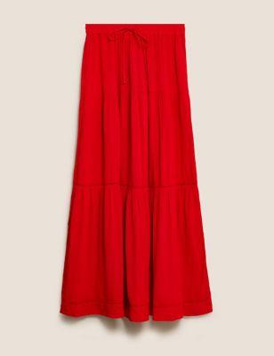 Textured Tiered Maxi Skirt