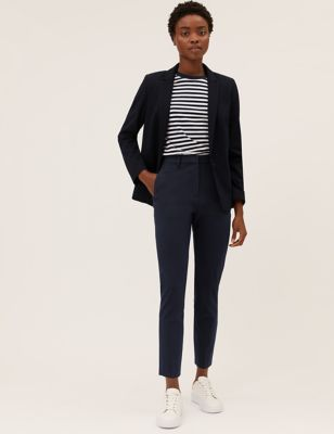 Slim Fit Ankle Grazer Trousers with Stretch