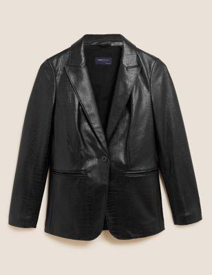 Faux Leather Textured Blazer