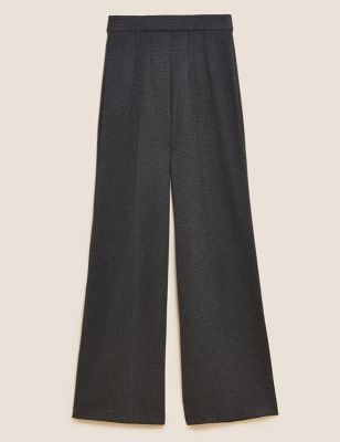 Jersey Houndstooth Wide Leg Trousers