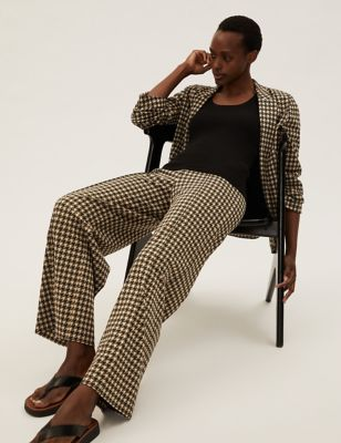 Jersey Dogtooth Wide Leg Trousers