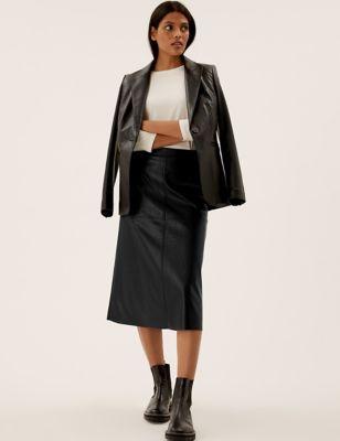 Faux Leather Croc Midi A-Line Skirt