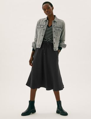 Crepe Midi Circle Skirt