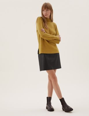 Faux Leather Mini A-Line Skirt