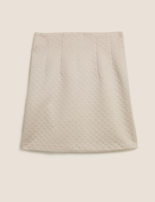 Jersey Diamond Quilted Mini A-Line Skirt