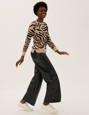 Faux Leather Wide Leg Trousers