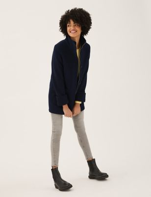 Borg Lined Longline Tailored Coat with Wool